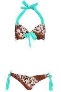 ROMWE Leopard Print Self-tie Bowknot Halter Bikini