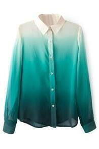 ROMWE Gradient Color Green Chiffon Shirt