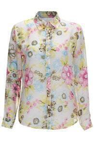 ROMWE Floral Print Long-sleeved Yellow Shirt