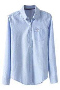 ROMWE Seagull Embroidered Long-sleeves Blue Shirt
