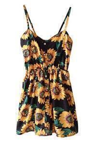 ROMWE Sunflowers Print Elastic Waistband Strap Dress