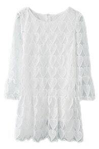 ROMWE Hollow Heart Crochet White Pleated Dress