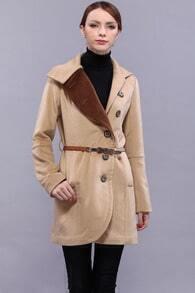Color Contrast Collar Khaki Coat