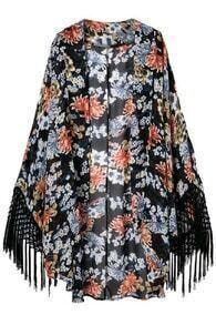 ROMWE Floral Print Tassels Buttonless Kimono