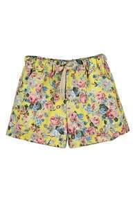 ROMWE Floral Print Drawsrting Rolled Loose Shorts
