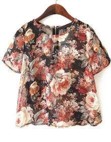 Floral Print Chiffon T-Shirt