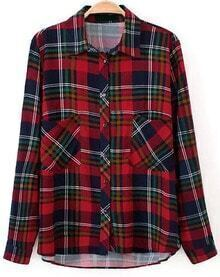 Check Print Pockets Red Blouse
