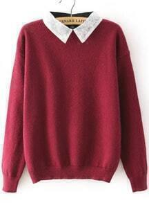 Lace Lapel Knit Wine Red Sweater
