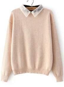 Lace Lapel Knit Apricot Sweater