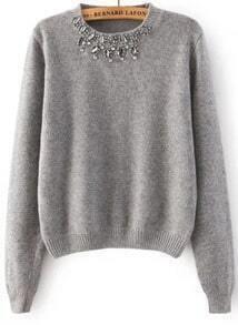 Jersey corto con apliques cristales - gris
