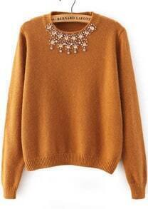 Rhinestone Knit Crop Khaki Sweater