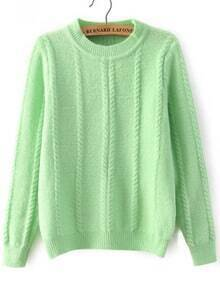 Cable Knit Loose Green Sweater