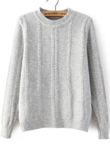 Cable Knit Loose Grey Sweater