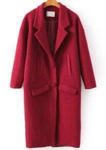 Lapel Pockets Woolen Long Red Coat