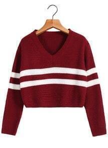 V Neck Striped Crop Wine Red Sweater