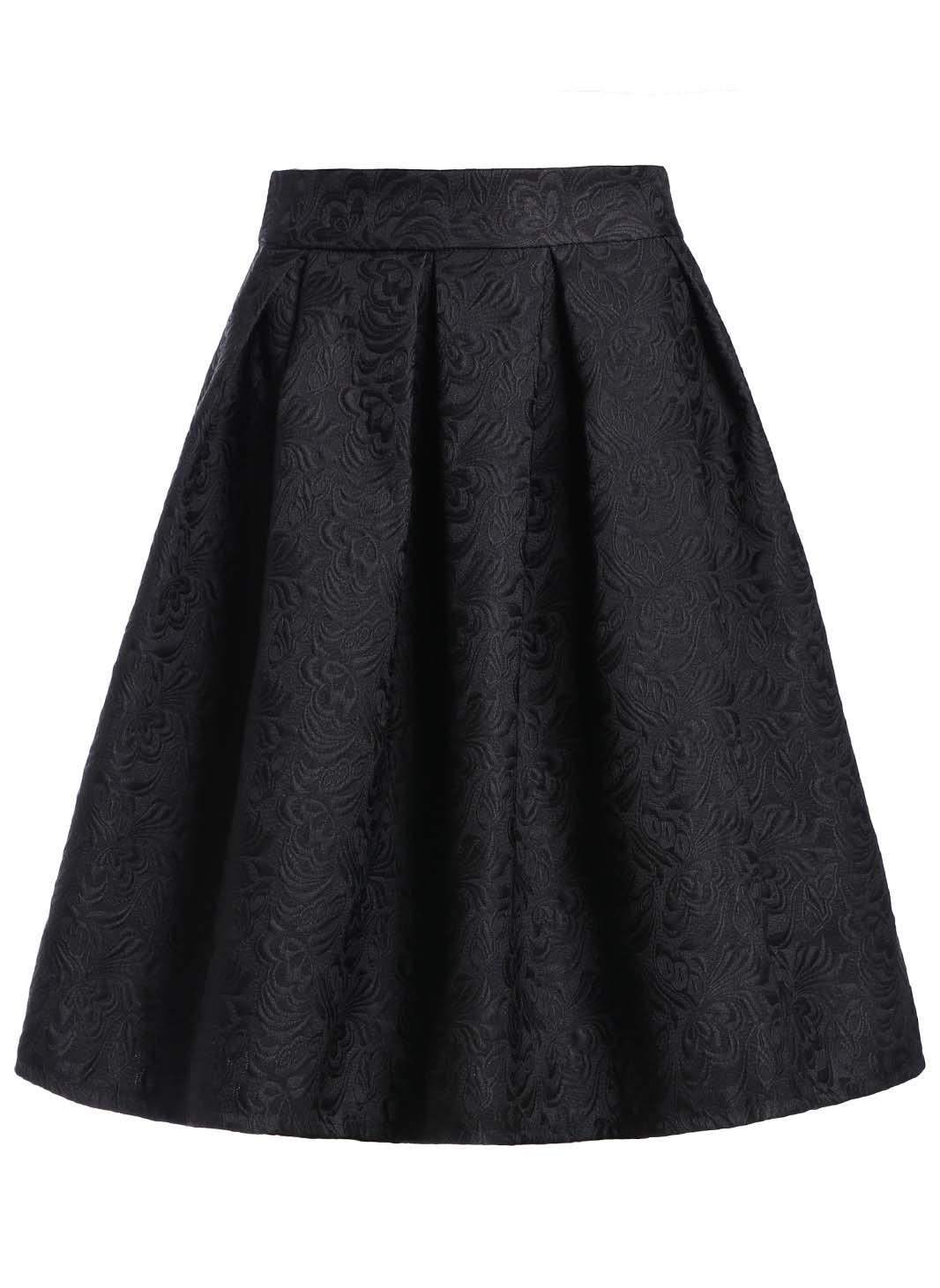 Jacquard Black Midi Skirt