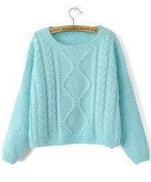Cable Knit Crop Blue Sweater