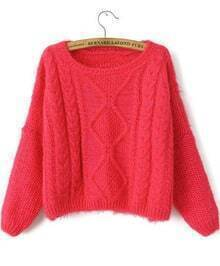 Cable Knit Crop Red Sweater