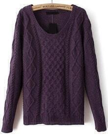 Diamond Patterned Knit Purple Sweater
