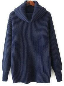 High Neck Loose Knit Navy Sweater