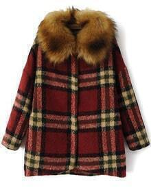 Check Print Removable Faux Fur Woolen Coat