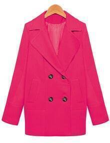 Lapel Loose Woolen Rose Red Coat