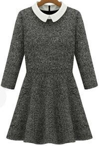 Slim Flouncing Woolen Dress