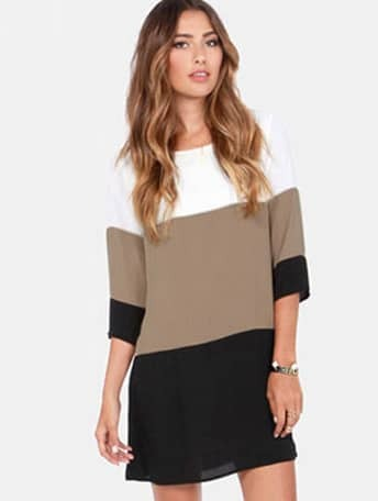 White coffee black colour block dress