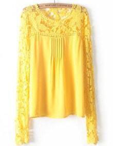 Hollow Lace Chiffon Yellow Blouse
