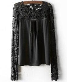 Hollow Lace Chiffon Black Blouse