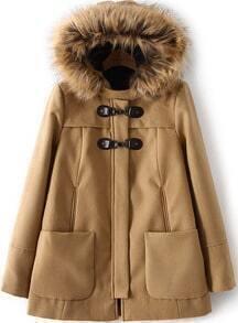 Faux Fur Hooded Pockets Camel Coat
