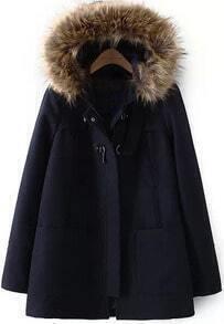 Faux Fur Hooded Pockets Navy Coat