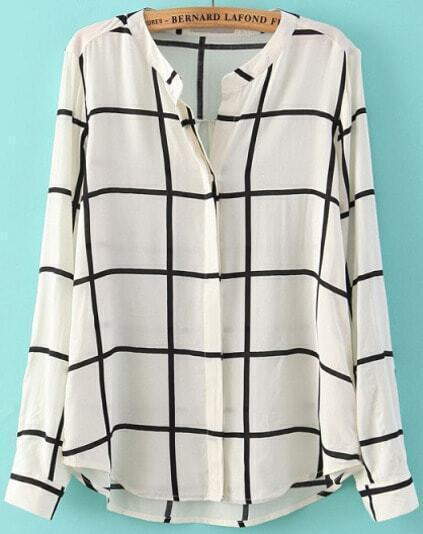 Check Print Loose Blouse