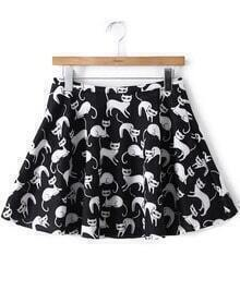 Cats Print Flouncing Black Skirt