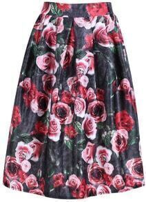 Floral Print Midi Red Skirt