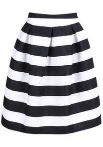 Striped Knee Length Skirt