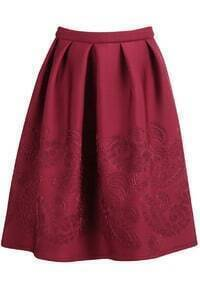 Floral Print Pleated Wine Red Skirt