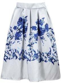 Floral Print Midi White Skirt