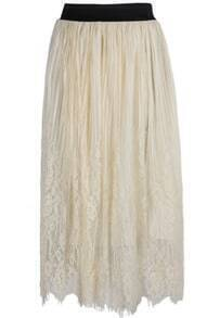 Lace Mesh Pleated Apricot Skirt