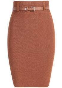 Belted Khaki Knit Bodycon Skirt