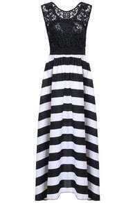 Striped Lace Maxi Dress