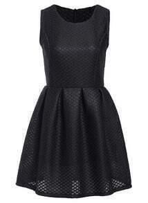 Sleeveless Hollow Grid Pleated Black Dress