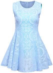 Sleeveless Hollow Pattern Pleated Blue Dress