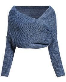 Off-shoulder Knit Crop Sweater