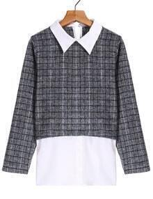 Check Print Lapel Grey Blouse