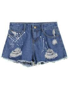 Ripped Pockets Fringe Denim Shorts