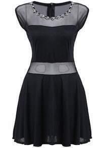 Sheer Mesh Hollow Pleated Dress