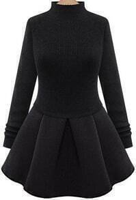 High Neck Pleated Sweater Dress