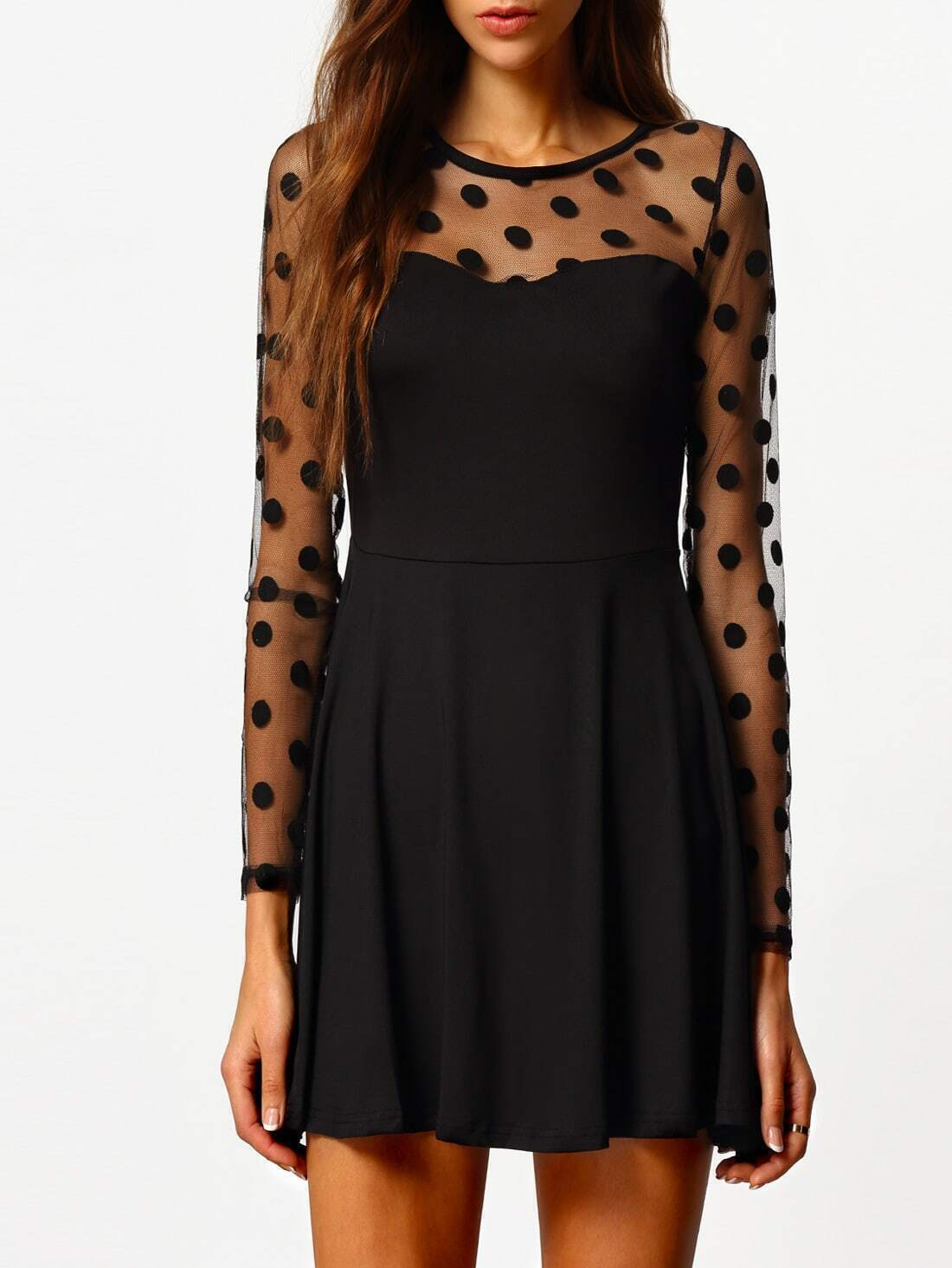 Polka Dot Sheer Lace Dress - $19.98