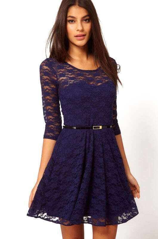 Belt Sheer Lace Blue Dress - $13.33